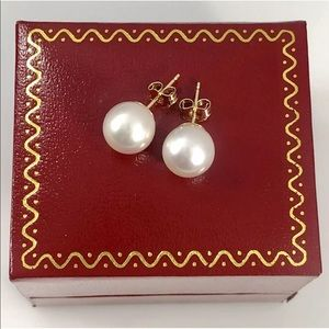 Jewelry - 14k Solid Gold 9MM Pearl Earring